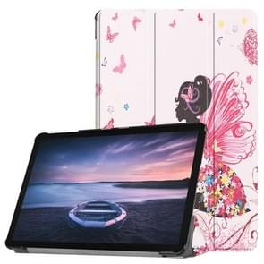 Butterfly Fairy Pattern Horizontal Flip PU Leather Case for Galaxy Tab S4 10.5 / T835, with Three-folding Holder & Sleep / Wake-up Function