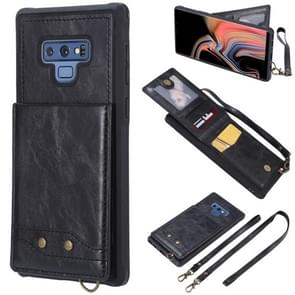 Vertical Flip Fashion Shockproof Leather Case for Galaxy Note9, with Holder & Photo Frame & Card Slots & Lanyard(Black)