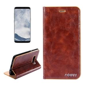 LOUIS for Samsung Galaxy S8 Crystal Texture PC Full Coverage Horizontal Flip Leather Case with Holder & Card Slots (Brown)
