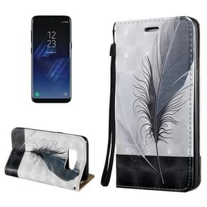 For Samsung Galaxy S8 3D Relief Feather Pattern Magnetic Adsorption Horizontal Flip Leather Case with Holder & Card Slots & Lanyard