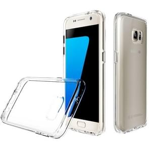 For Samsung Galaxy S7 PC + TPU Chrome Plated Press Button Transparent Protective Back Cover Case(Transparent)