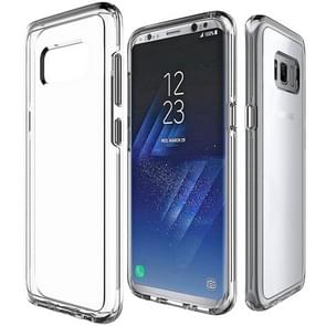 For Samsung Galaxy S8 PC + TPU Chrome Plated Press Button Transparent Protective Back Cover Case(Transparent)