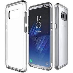 For Galaxy S8+ / G955 PC + TPU Chrome Plated Press Button Transparent Protective Back Cover Case(Transparent)