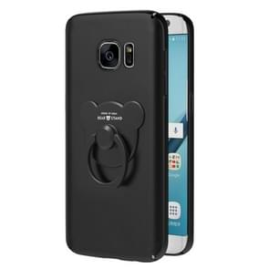AIQAA For Galaxy S7 Solid color Metal Paint Plastic PC Dropproof Protective case with Bear Ring Holder(Black)