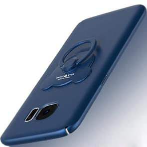AIQAA For Samsung Galaxy S7 Solid color Metal Paint Plastic PC Dropproof Protective case with Bear Ring Holder(Dark Blue)