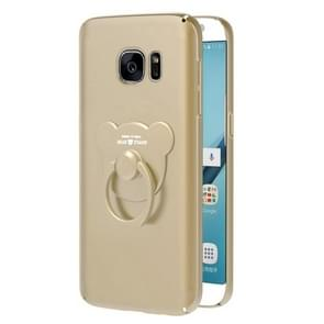 AIQAA For Galaxy S7 Solid color Metal Paint Plastic PC Dropproof Protective case with Bear Ring Holder(Gold)