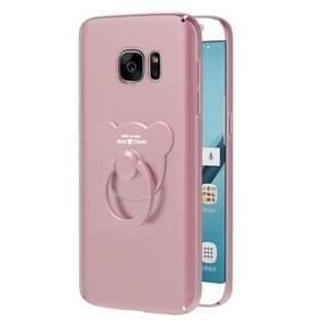 AIQAA For Samsung Galaxy S7 Solid color Metal Paint Plastic PC Dropproof Protective case with Bear Ring Holder(Rose Gold)
