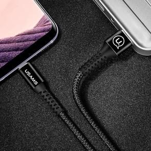 USAMS US-SJ171 1.2m 3A USB to USB-C / Type-C 3.0 Data Sync laad Kabel, Voor Samsung Galaxy S8 & S8 + / LG G6 / Huawei P10 & P10 Plus / Xiaomi Mi 6 & Max 2 en other Smartphones(zwart)