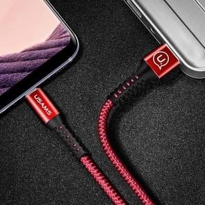 USAMS US-SJ171 1.2m 3A USB to USB-C / Type-C 3.0 Data Sync laad Kabel, Voor Samsung Galaxy S8 & S8 + / LG G6 / Huawei P10 & P10 Plus / Xiaomi Mi 6 & Max 2 en other Smartphones(rood)