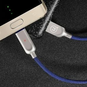 USAMS US-SJ180 1.2m 2A USB to USB-C / Type-C  Data Sync laad Kabel met Intelligent Breathing licht, Voor Samsung Galaxy S8 & S8 + / LG G6 / Huawei P10 & P10 Plus / Xiaomi Mi 6 & Max 2 en other Smartphones(blauw)