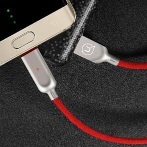 USAMS US-SJ180 1.2m 2A USB to USB-C / Type-C  Data Sync laad Kabel met Intelligent Breathing licht, Voor Samsung Galaxy S8 & S8 + / LG G6 / Huawei P10 & P10 Plus / Xiaomi Mi 6 & Max 2 en other Smartphones(rood)