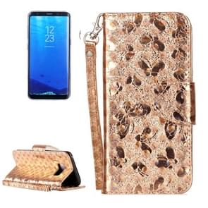 For Samsung Galaxy S8 Laser Butterfly Horizontal Flip Leather Case with Holder & Card Slots & Wallet (Gold)
