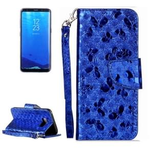 For Samsung Galaxy S8 Laser Butterfly Horizontal Flip Leather Case with Holder & Card Slots & Wallet (Blue)