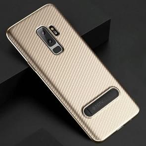 TOTUDESIGN Slim Series voor Samsung Galaxy S9+ Carbon Fiber structuur TPU beschermings Back hoesje met houder (Goud)