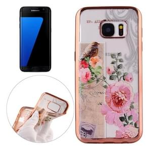 For Samsung Galaxy S7 Edge / G935 Bird And Flower Pattern Electroplating Frame Soft TPU Protective Case
