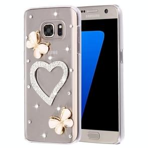 For Samsung Galaxy S7 / G930 Diamond Encrusted Pearl Heart Pattern Plastic Case