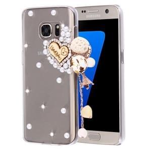 For Samsung Galaxy S7 / G930 Diamond Encrusted Pearl Heart Pendant Pattern Plastic Case
