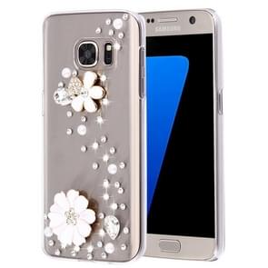 For Samsung Galaxy S7 / G930 Diamond Encrusted Pearl Flowers Pattern Plastic Case