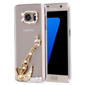For Samsung Galaxy S7 Edge / G935 Diamond Encrusted Pearl Swan Pattern Plastic Case