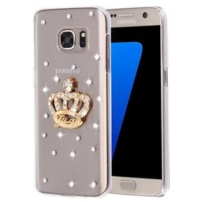 For Samsung Galaxy S7 Edge / G935 Diamond Encrusted Pearl Crown Pattern Plastic Case