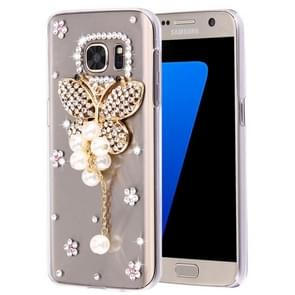 For Samsung Galaxy S7 Edge / G935 Diamond Encrusted Pearl Butterfly Pattern Plastic Case