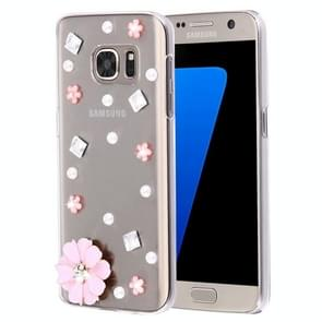 For Samsung Galaxy S7 Edge / G935 Diamond Encrusted Pearl Pink Flower Pattern Plastic Case