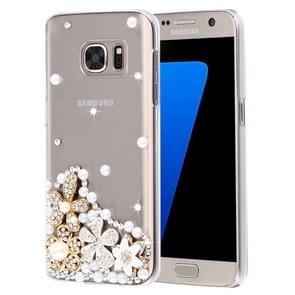 For Samsung Galaxy S7 Edge / G935 Diamond Encrusted Pearl Flowers Pattern Plastic Case