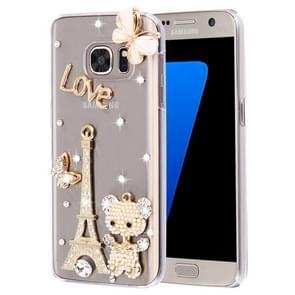 For Samsung Galaxy S7 Edge / G935 Diamond Encrusted Pearl Eiffel Tower Pattern Plastic Case