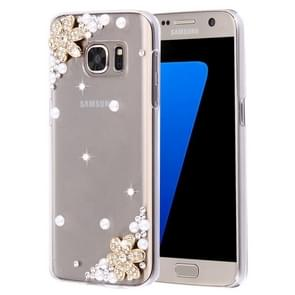 For Samsung Galaxy S7 Edge / G935 Diamond Encrusted Flowers Pattern Plastic Case