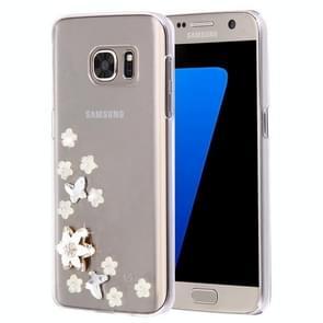 For Samsung Galaxy S7 Edge / G935 Diamond Encrusted Pearl Star Flowers Pattern Plastic Case
