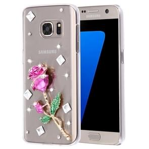 For Samsung Galaxy S7 Edge / G935 Diamond Encrusted Pearl Rose Pattern Plastic Case