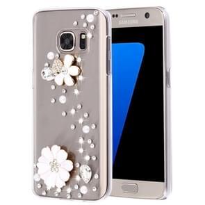For Samsung Galaxy S7 Edge / G935 Diamond Encrusted Pearl Flower Pattern Plastic Case