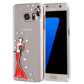 For Samsung Galaxy S7 Edge / G935 Diamond Encrusted Pearl Lady Pattern Plastic Case