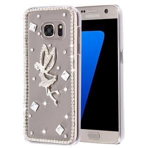 For Samsung Galaxy S7 Edge / G935 Diamond Encrusted Pearl Flower Fairy Pattern Plastic Case