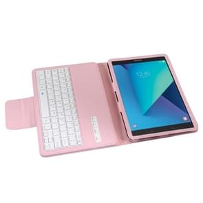 For Samsung Galaxy Tab S3 9.7 / T820 2 in 1 Detachable Bluetooth Keyboard Litchi Texture Leather Case with Holder(Pink)