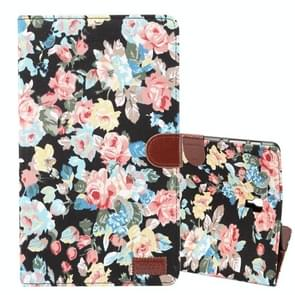 Dibase Flower Pattern Horizontal Flip PU Leather Case for Galaxy Tab A 10.5 / T590, with Holder & Card Slot (Black)