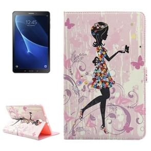 For Samsung Galaxy Tab A 10.1 (2016) / P580 Girl Skirt Pattern Diamond Encrusted Horizontal Flip Leather Case with Holder