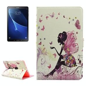 For Samsung Galaxy Tab A 10.1 (2016) / P580 Butterfly Fairy Pattern Diamond Encrusted Horizontal Flip Leather Case with Holder