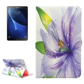 For Samsung Galaxy Tab A 10.1 (2016) / T580 Purple Flower Pattern Diamond Encrusted Horizontal Flip Leather Case with Holder