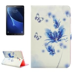 For Samsung Galaxy Tab A 10.1 (2016) / T580 Blue Flower and Butterfly Pattern Diamond Encrusted Horizontal Flip Leather Case with Holder