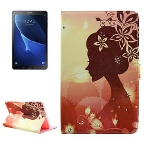 For Samsung Galaxy Tab A 10.1 (2016) / T580 Girl Silhouette Pattern Diamond Encrusted Horizontal Flip Leather Case with Holder