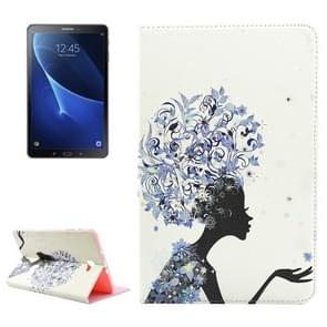 For Samsung Galaxy Tab A 10.1 (2016) / T580 Blue Flower Headwear Girl Pattern Diamond Encrusted Horizontal Flip Leather Case with Holder