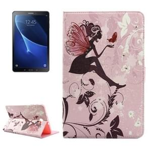 For Samsung Galaxy Tab A 10.1 (2016) / T580 Butterfly Fairy Silhouette Pattern Diamond Encrusted Horizontal Flip Leather Case with Holder