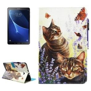 For Samsung Galaxy Tab A 10.1 (2016) / T580 Cats and Butterflies Pattern Horizontal Flip Leather Case with Holder & Wallet & Card Slots & Sleep / Wake-up Function & Pen Slot