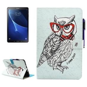 For Samsung Galaxy Tab A 10.1 (2016) / T580 Glasses Owl Pattern Horizontal Flip Leather Case with Holder & Wallet & Card Slots & Sleep / Wake-up Function & Pen Slot