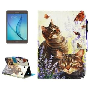 For Samsung Galaxy Tab A 8.0 / T350 Cats and Butterflies Pattern Horizontal Flip Leather Case with Holder & Wallet & Card Slots & Sleep / Wake-up Function & Pen Slot