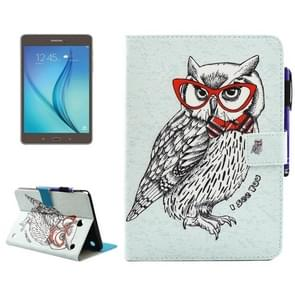 For Samsung Galaxy Tab A 8.0 / T350 Glasses Owl Pattern Horizontal Flip Leather Case with Holder & Wallet & Card Slots & Sleep / Wake-up Function & Pen Slot