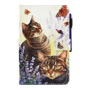 For Samsung Galaxy Tab E 8.0 / T377 Cats and Butterflies Pattern Horizontal Flip Leather Case with Holder & Wallet & Card Slots & Sleep / Wake-up Function & Pen Slot
