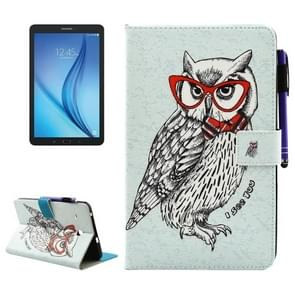 For Samsung Galaxy Tab E 8.0 / T377 Glasses Owl Pattern Horizontal Flip Leather Case with Holder & Wallet & Card Slots & Sleep / Wake-up Function & Pen Slot