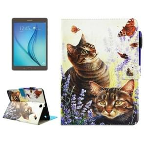 For Samsung Galaxy Tab A 9.7 / T550 Cats and Butterflies Pattern Horizontal Flip Leather Case with Holder & Wallet & Card Slots & Sleep / Wake-up Function & Pen Slot
